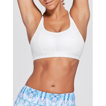 Cutout Criss Cross Padded Sports Bra - WHITE M