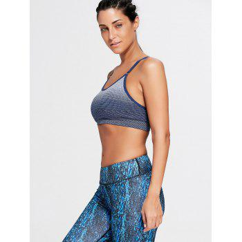 Ombre Adjustable Padded Racerback Sports Bra - PURPLISH BLUE PURPLISH BLUE