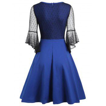 Bell Sleeve Mesh Insert Skater Dress - M M