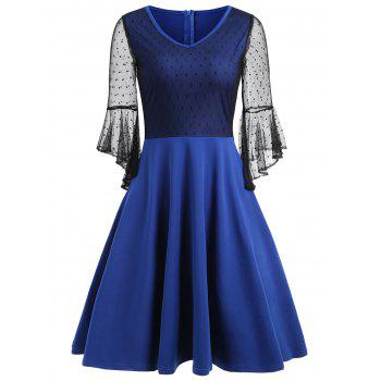 Bell Sleeve Mesh Insert Skater Dress - BLUE M