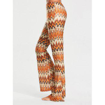 Elastic Waist Melted Stripe Print Flare Pants - S S