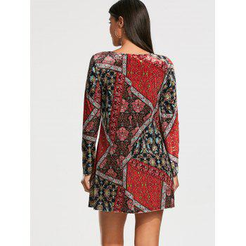 Long Sleeve Patchwork Print Tunic Dress - COLORMIX XL