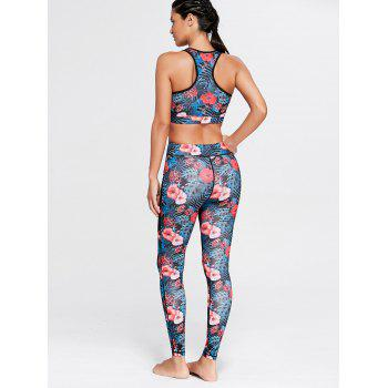 Racerback Bra Top and Floral Mesh Workout Leggings - FLORAL S