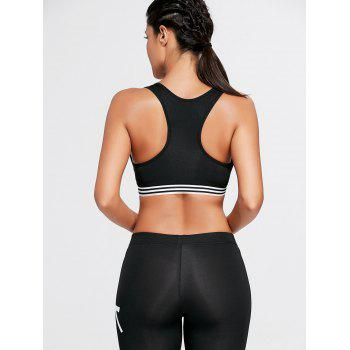 Stripe Trim U Neck Padded Sports Bra - M M