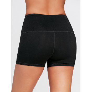 Active High Waist Lace Up Shorts - BLACK BLACK
