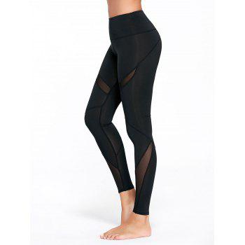 High Rise Mesh Panel Workout Leggings - BLACK L