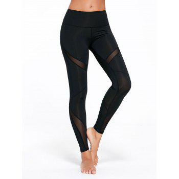 High Rise Mesh Panel Workout Leggings - L L