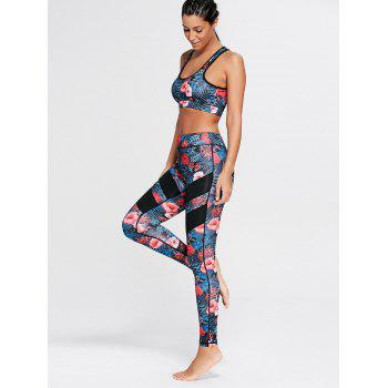Racerback Bra Top and Floral Mesh Workout Leggings - FLORAL L