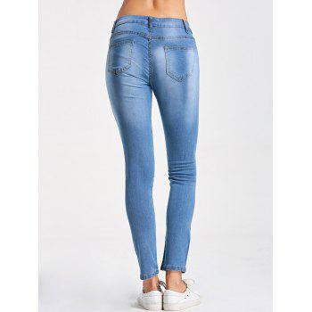 Embroidery Distressed Skinny Jeans - LIGHT BLUE LIGHT BLUE