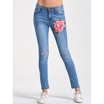 Embroidery Distressed Skinny Jeans - LIGHT BLUE XL