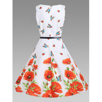 Floral A Line Sleeveless Vintage Dress - S S