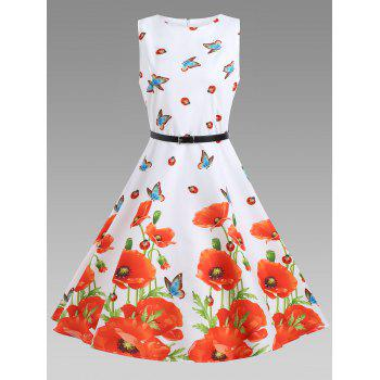 Floral A Line Sleeveless Vintage Dress - FLORAL M