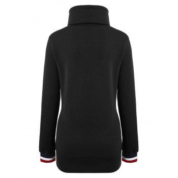 Long Mock Neck Pocket Drawstring Hoodie - S S