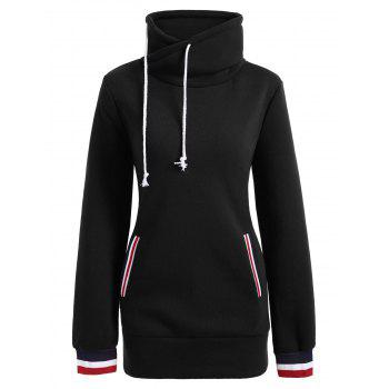 Long Mock Neck Pocket Drawstring Hoodie - BLACK S