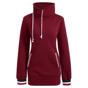 Long Mock Neck Pocket Drawstring Hoodie - RED L