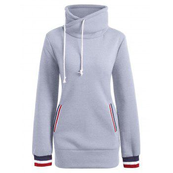 Long Mock Neck Pocket Drawstring Hoodie - GRAY XL