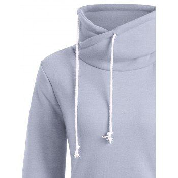 Long Mock Neck Pocket Drawstring Hoodie - L L