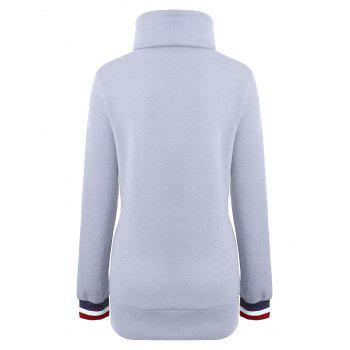 Long Mock Neck Pocket Drawstring Hoodie - M M