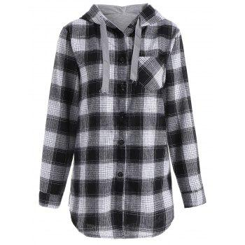 Plaid Button Up Pocket Plus Size Hoodie