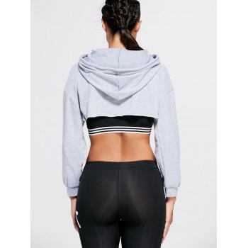 Long Sleeve Open Front Sports Cropped Hoodie - GRAY ONE SIZE