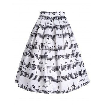 High Waist Music Notes Midi Skirt - S S