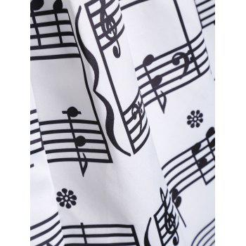 Haute taille Waist Music Notes Jupe Midi - Blanc M