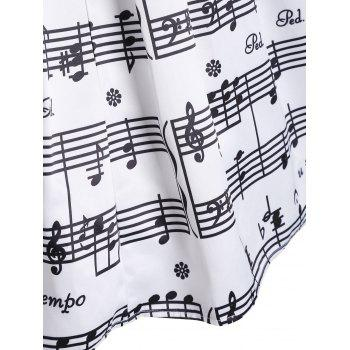 Haute taille Waist Music Notes Jupe Midi - Blanc L