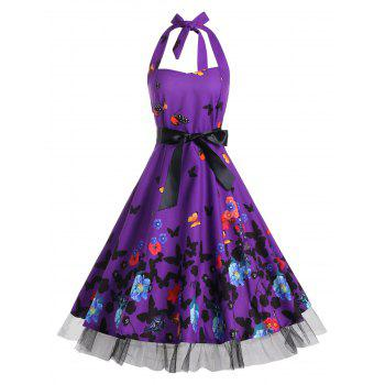 Butterfly Print Halter A Line Vintage Dress - DEEP PURPLE M