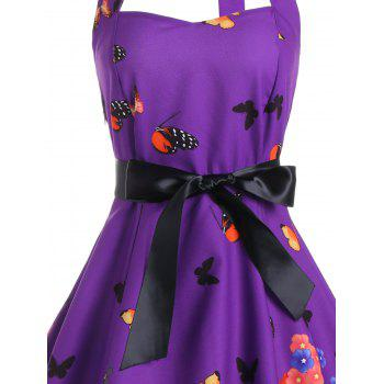 Butterfly Print Halter A Line Vintage Dress - S S