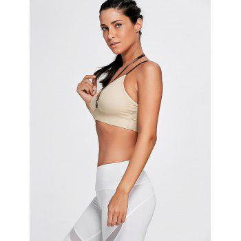 Strappy Cross Back Plunge Sports Bra - COMPLEXION XL