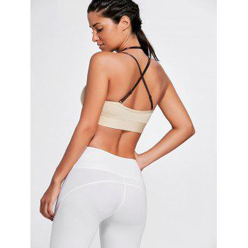 Strappy Cross Back Plunge Sports Bra - COMPLEXION M