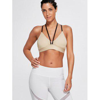 Strappy Cross Back Plunge Sports Bra - COMPLEXION S