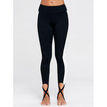 Color Block Sports Stirrup Leggings - S S