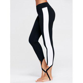 Color Block Sports Stirrup Leggings - BLACK BLACK