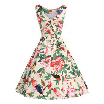 Belted Floral A Line Vintage Dress - YELLOW S