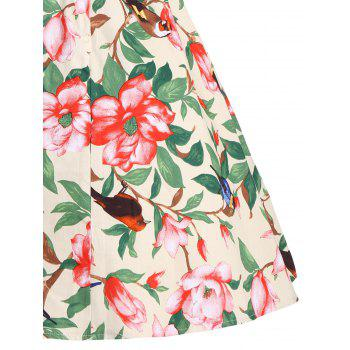 Belted Floral A Line Vintage Dress - S S