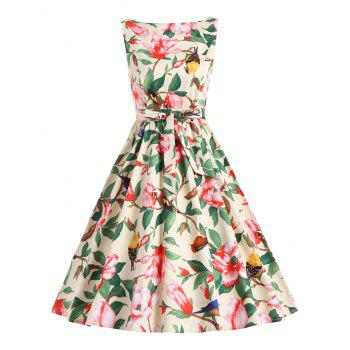 Belted Floral A Line Vintage Dress - YELLOW L