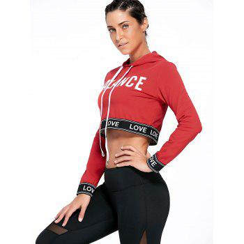 Balance Graphic Sports Crop Hoodie - RED M