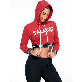 Balance Graphic Sports Crop Hoodie - RED RED
