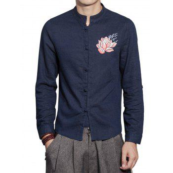 Cotton Linen Mandarin Collar Floral Embroidered Shirt - CADETBLUE CADETBLUE