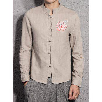 Cotton Linen Mandarin Collar Floral Embroidered Shirt - DARK KHAKI L