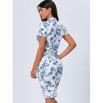 Blue and White Porcelain Vintage Cheongsam Dress - BLUE BLUE