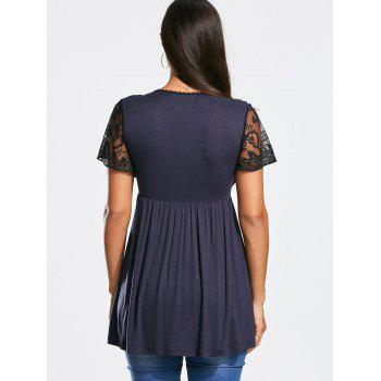 Empire Waist Short Lace Sleeve Tunic T-shirt - DEEP BLUE DEEP BLUE