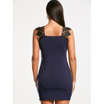 Lace Trim sans manches en plongée Neckline Bodycon Dress - Azuré M