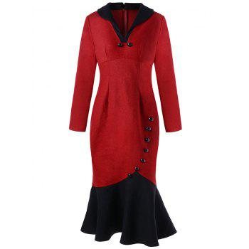 Button Detail Long Sleeve Fishtail Dress - RED L