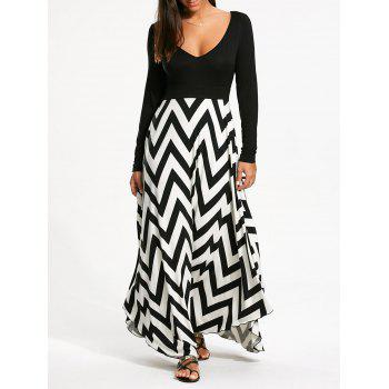 Long Sleeve Zigzag Print Maxi Dress