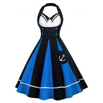 Vintage Halter Backless Color Block Pin Up Dress - BLUE AND BLACK BLUE/BLACK