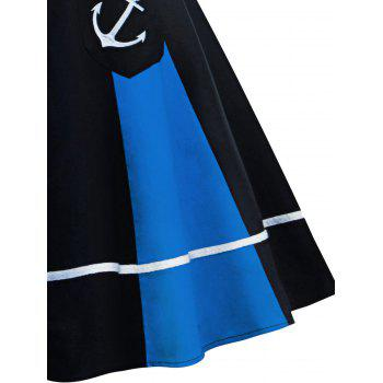 Vintage Halter Backless Color Block Pin Up Dress - BLUE/BLACK BLUE/BLACK