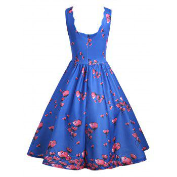 Floral Scalloped Neck Vintage A Line Dress - M M