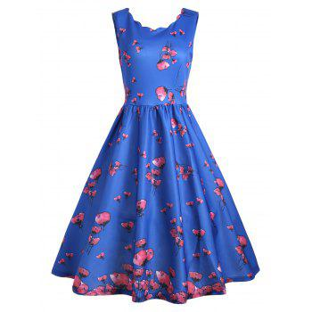 Floral Scalloped Neck Vintage A Line Dress - BLUE L